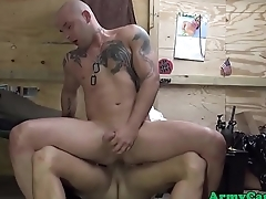 Military ribbon hunks cockriding in groupsex
