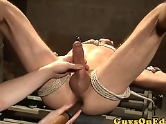 Tiedup sub dildoed in ass and edged by dom