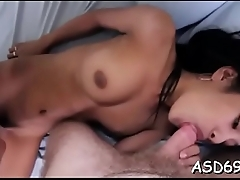 Oriental gal attacks her guy'_s knob