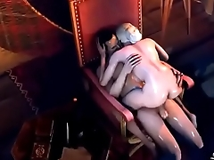 hot 3d big pair blonde queen fucked on her thron