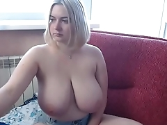 Hot woman showing big tits