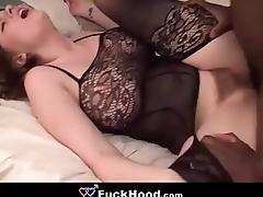 Busty Brunette Teen Hooks Up &amp_ Fucks A Big Black Cock