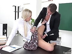 FuckStudies.com - Karolina - Blonde babe gets help and ascent