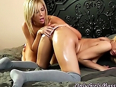 Busty milf pussylicked by lickerish masseuse