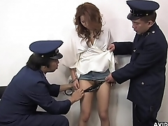 A sexy prisoner getting their way wet pussy handled by guards