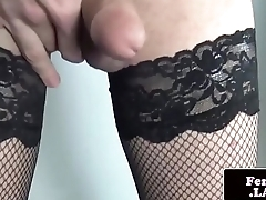 Solo femboi dildoing her asshole deeply