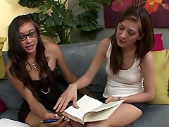 Sapphic brunette Kenna Kane finger fucks Asian babe Arial Rose then they rub their cunts together