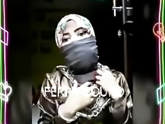 Ball gagged wearing Niqab and Self Bondage