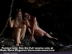 Aims and Tiffani Halloween models with naked pussy