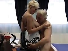 Busty babe hardcore old man