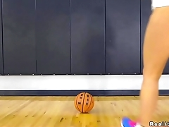 Dude playing basketball with busty babe