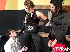 Sultry dominatrix-bitch dominates chap