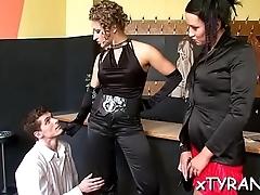Sultry dominatrix-bitch dominates chap