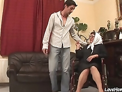 Old woman is still qualified at cock pleasing