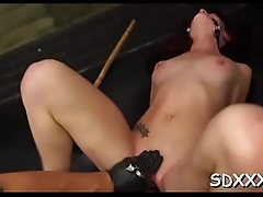 Chained babe does bdsm