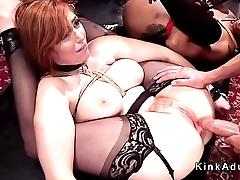 Huge cock dude bangs slave hotties