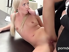 Fervent bookworm is teased and banged by her senior teacher
