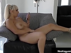 Nympho Nina Kayy Dildo Bangs Pussy Space fully Sexting Horny Guy!