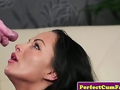 Bigtitted UK babe jizzed on gorgeous face