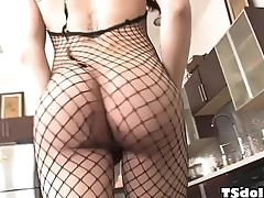 Small titted t-girl Domino Presley