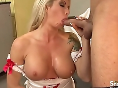 Tattooed Busty Blonde Milf in Action