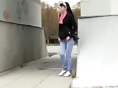 Bursting To Pee In Public, Pretty Young Girl Has No Privacy To Relief Herself