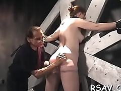 Strapped cum-hole gets pinched