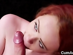Foxy sex kitten gets cum shot on her face sucking all the load