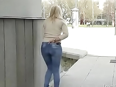 Bursting To Pee In Public, Pretty Young Girl Can'_t Avoid An Wetting Accident