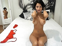 Busty tattoed MILF Anisyia masturbates and rides big sex-toy