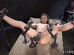 Slave in metal device bondage vibrated