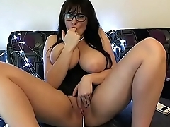 Wow hot nerd with big tits but so tiny pussy
