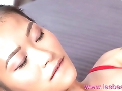 Lesbea Tight pussy Asian facesitting on big tits blonde in crotchless lace